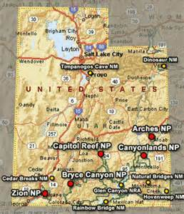 Color Map Of Utah S National Parks Map Of Utahs Counties State - Utah national parks map